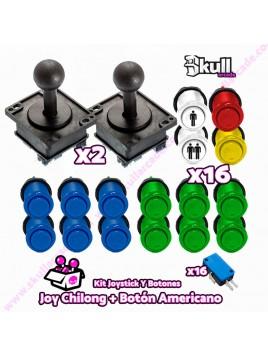 Kit Joystick y Botones : Botón Americano + Joystick Chilong