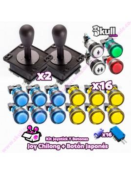 Kit Joystick y Botones : Botón Led + Joystick Americano
