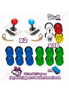 Kit joystick japones sanwa y Botón americano para maquinas recreativas arcade y bartop HDMI hyperspin
