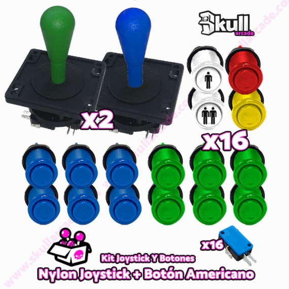Kit Joystick y Botones : Botón Americano + Joystick Nylon