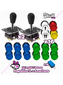 Kit joystick magnetico lorenzo y Botón Americano Cóncavo para maquinas recreativas arcade y bartop HDMI hyperspin