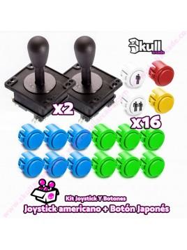 Kit joystick americano y Botón japonés sanwa para maquinas recreativas arcade y bartop HDMI hyperspin