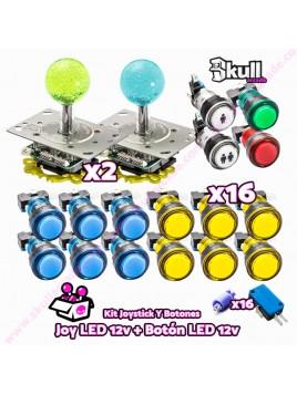 Kit joystick Led Bartop arcade Botón Led + Joystick Led 12v