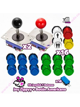 Kit Joystick y Botones : Botón Americano + Joystick Zippy