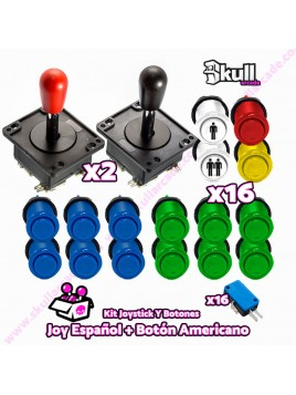 Kit Joystick y Botones : Botón Americano + Joystick Español